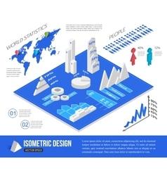 Isometric infographic elements vector image