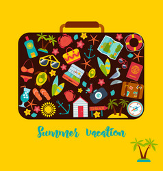 set of summer icons inside a suitcase vector image vector image