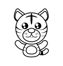 tiger animal toy outline vector image vector image