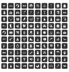 100 children icons set black vector image
