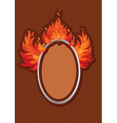 Oval frame with spurts of flame on stripe dark bac vector image