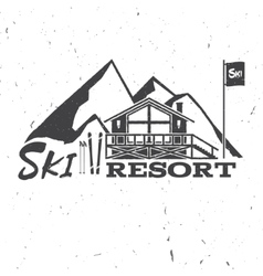 Ski resort concept with ski house vector image vector image