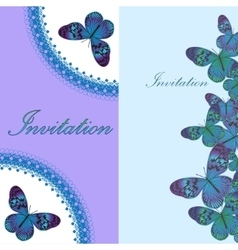 Vintage invitation card with blue butterfly vector image