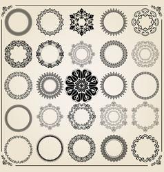 vintage set of round elements vector image