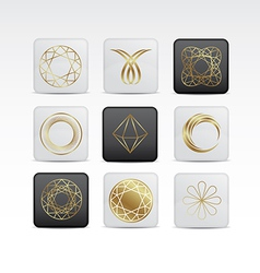 Diamond gold icon set vector image vector image