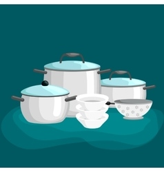 Domestic cooking tools and equipment pans pots vector image