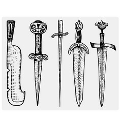 medieval symbols big set of swords knife and mace vector image