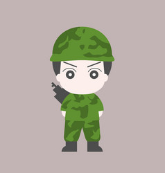 soldier cartoon flat design vector image