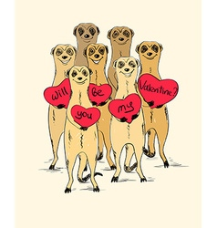 Valentines Day Card With Funny Meerkats vector image