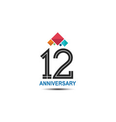 12 anniversary logotype with colorful crown vector