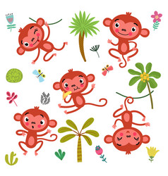 5 cute monkeys vector image