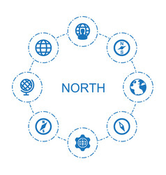8 north icons vector image