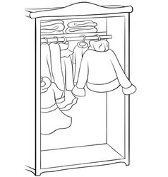 A children coloring bookpage a cute wardrobe with vector