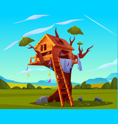 Abandoned house on tree empty scary playground vector