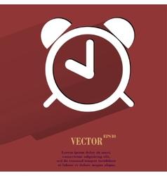 Alarm clock Flat modern web button with long vector