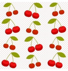 Background with red cherries vector