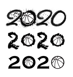 basketball 2020 new year numbers vector image
