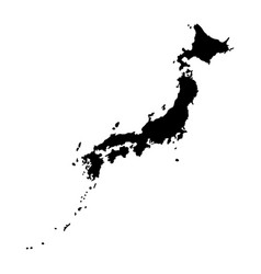 black map japan silhouette together with vector image