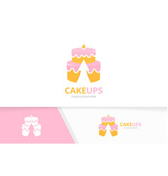 cake and arrow up logo combination pie and vector image