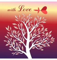 Card with tree and bird in love vector image