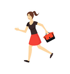 cartoon character woman in a hurry vector image