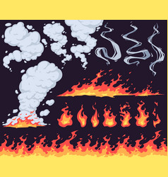 cartoon fire and smoke bright fire flame red vector image