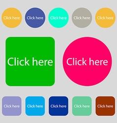 Click here sign icon Press button 12 colored vector