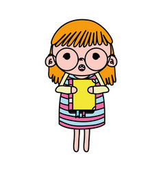 Color girl child with glasses and education book vector