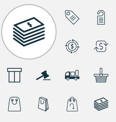 commerce icons set with shopping bag return item vector image