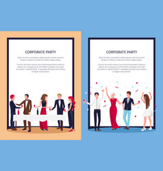 corporate party posters set text sample and people vector image