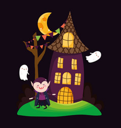 Count dracula house and ghosts halloween vector