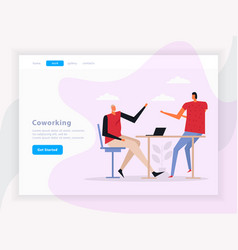 coworking team work landing page vector image