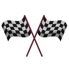 crossed flag start racing design vector image