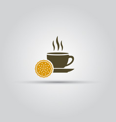 cup coffee and cookie isolated icon or sign vector image