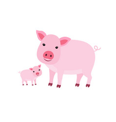 cute cartoon mother pig with her cub vector image