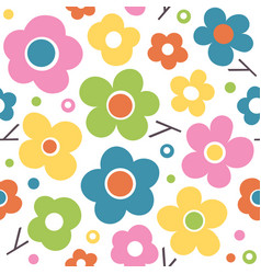 cute colorful spring flowers pattern vector image