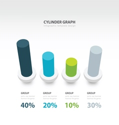 Cylinder infographic 3d graph template 4 color vector
