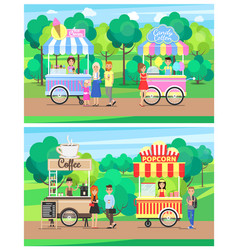 delicious street food from carts at green park vector image