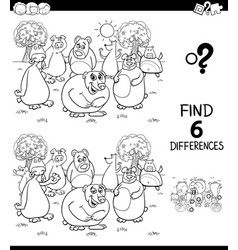 Differences color book with bears characters vector