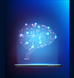 digital circuit brain from smartphone 3d vector image