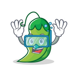 Diving peas character cartoon style vector