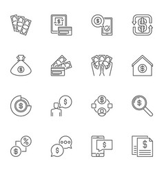 dollar and usd currency outline icons vector image