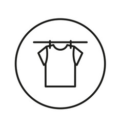 drying clothes t-shirt on a rope with clothespins vector image