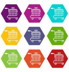 Economy trolley icons set 9 vector