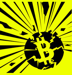Exploding bitcoin on bright vector
