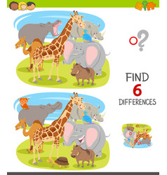Find differences game with cartoon animal vector