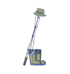 Fishing tool with boots and sincast with hat vector