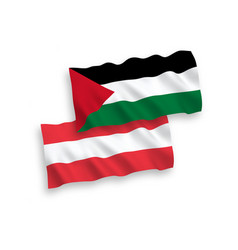 Flags austria and palestine on a white vector