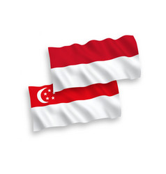 Flags indonesia and singapore on a white vector