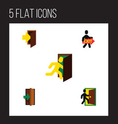 Flat icon emergency set of open door exit vector